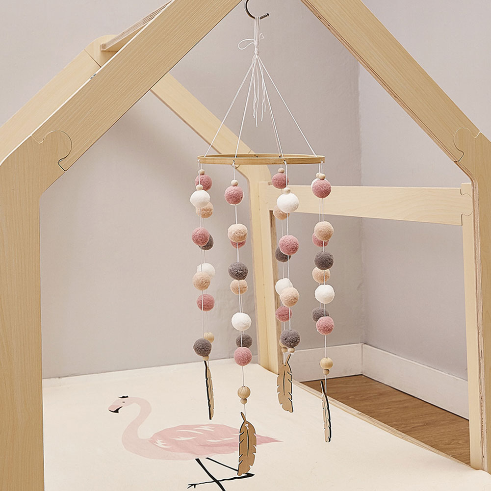 Baby Decoration Wind Chimes Bed Hanging Wooden Craft Handmade Nursery Beautiful Gift Photo Props Durable Kids Room Felt Ball