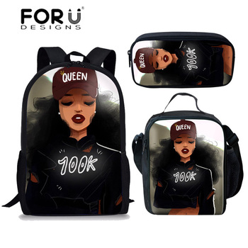 FORUDESIGNS Girls School Bags African Black Girls Hairstyle School Backpack Set Scool Bag For Girl Kids Girl Backpack Junior Bag 26