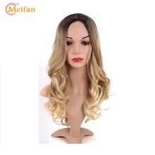 MEIFAN Long Wavy Middle Part Wig Heat Resistant Synthetic Om