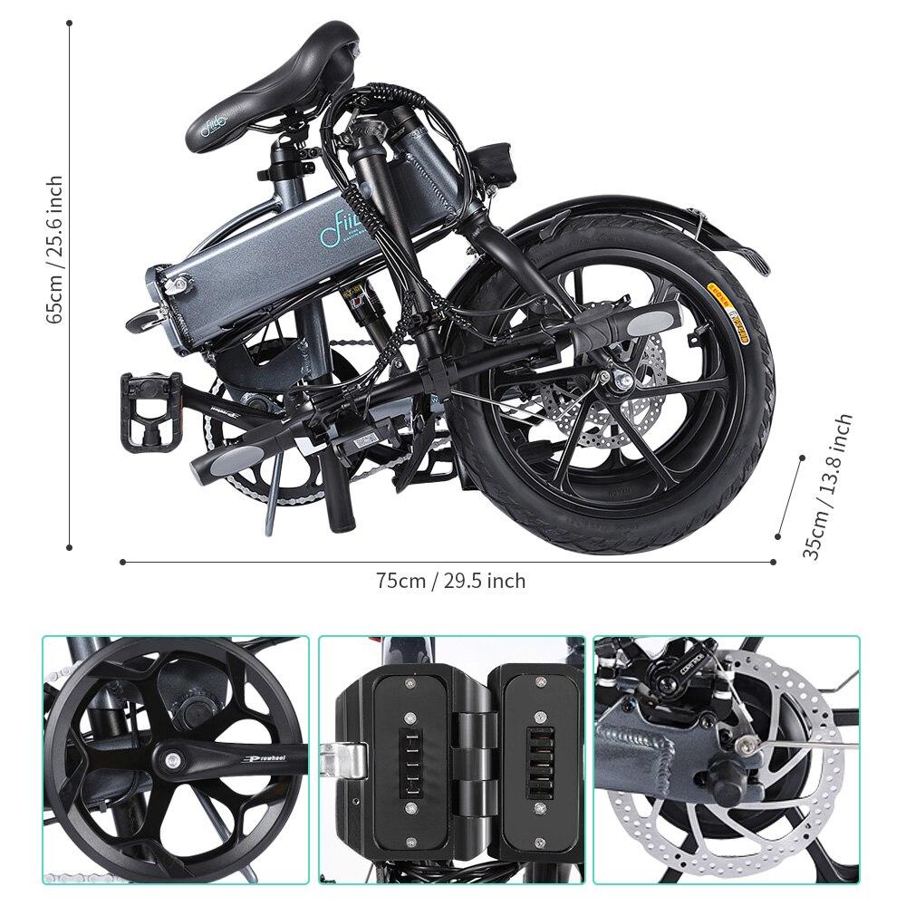 FIIDO D1 D2 D2s D3 D3s Smart 7.8AH/10.4A складной электрический велосипед мопед двойные дисковые тормоза светодиодный передний светильник для электровелосипеда - 4