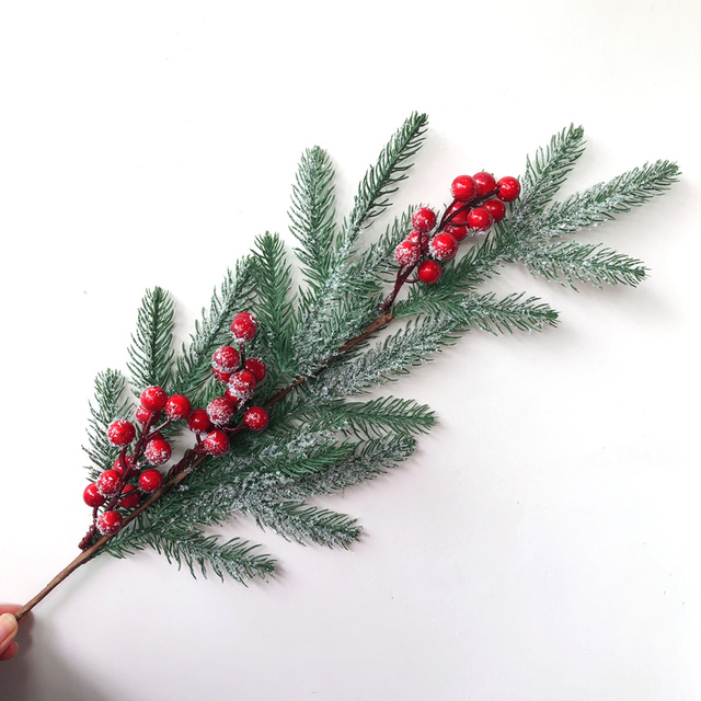 6Pcs Christmas Berry Artificial Pine Cone Red Fruit Branches Flower Multi Color