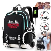 ストレンジャーもの3多機能usb充電ランドセル学生少年少女リュックサックラップトップバックパック旅行用バッグ