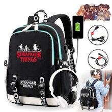 Stranger Things 3 borse da scuola multifunzione con ricarica USB studenti ragazzi ragazze zaino zaino per Laptop per adolescenti borse da viaggio
