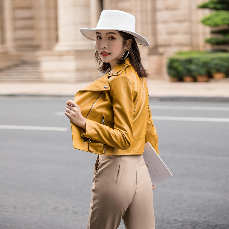 2019 autumn new fashion yellow women's jacket wild PU   leather   jacket Korea Slim short jacket rivet cool motorcycle rider jacket