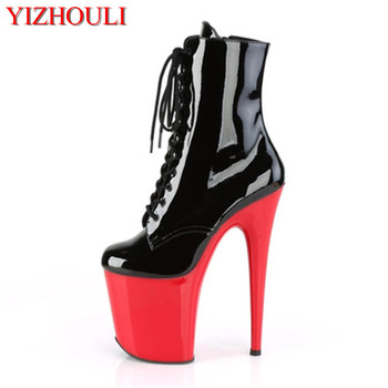 Sexy knight high heels women's ankle boots, spring and autumn 20 cm stiletto shoes, nightclub stage banquet show boots image