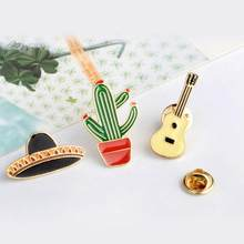 Planet Guitar Cactus Brooches Women Girl Hijab Scarf Wedding Bouquet Pin Up(China)