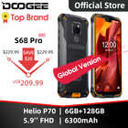 Teléfono resistente a prueba de agua IP68 DOOGEE S68 Pro carga inalámbrica NFC 6300mAh 12V2A carga 5,9 pulgadas FHD + Helio P70 Octa Core 6GB 128GB