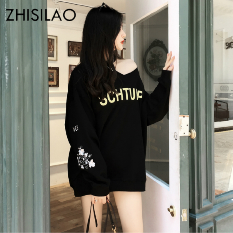 Embroidery Floral Sweatershirt Women Hoodies Off Shoulder Long Sleeve Harajuku Hooded Chic Kpop Oversize Sweatershirt Plus Size