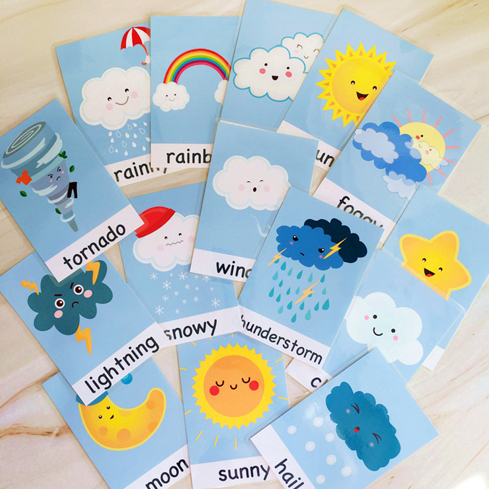 15pcs/Set Flashcards Weather English Preschool Montessori Education learn English Word Cards Toys for Children learning English