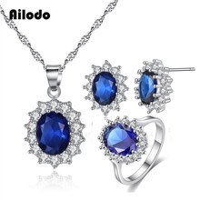 Ailodo Fashion Sunflower Jewelry Set For Women Girls Luxury Blue Red CZ Necklace Ring Earrings Party Wedding LD399