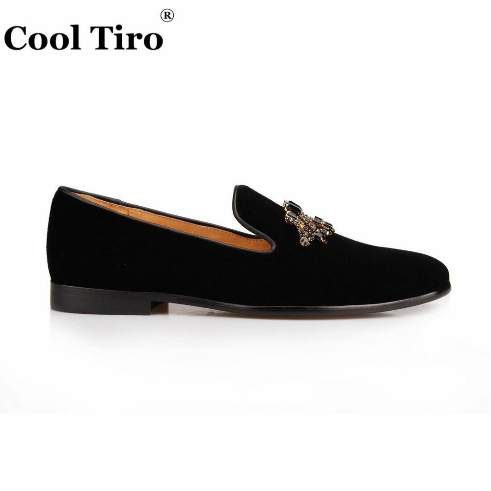 Стильные черные бархатные Лоферы TIRO с драгоценными камнями; Мужские модельные туфли; Роскошные лоферы с кристаллами; деловая мужская обувь - 2