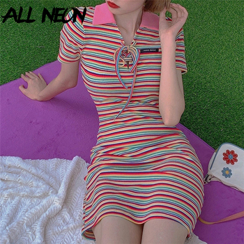 ALLNeon Vintage Striped Turn-down Collar Lace up Front Summer Dresses E-girl Sweet Short Sleeve Bodycon Mini Dress Streetwear knot front striped dress