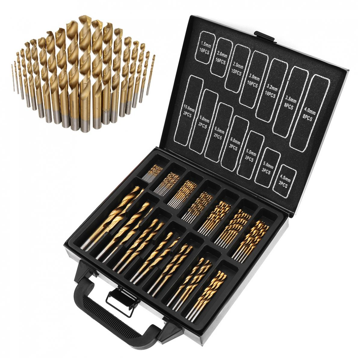 99pcs/lot Titanium Plating  Twist Drill Bits Coated Set 1.5MM-10MM Stainless Steel High Speed Steel Drilling Metal With Iron Box