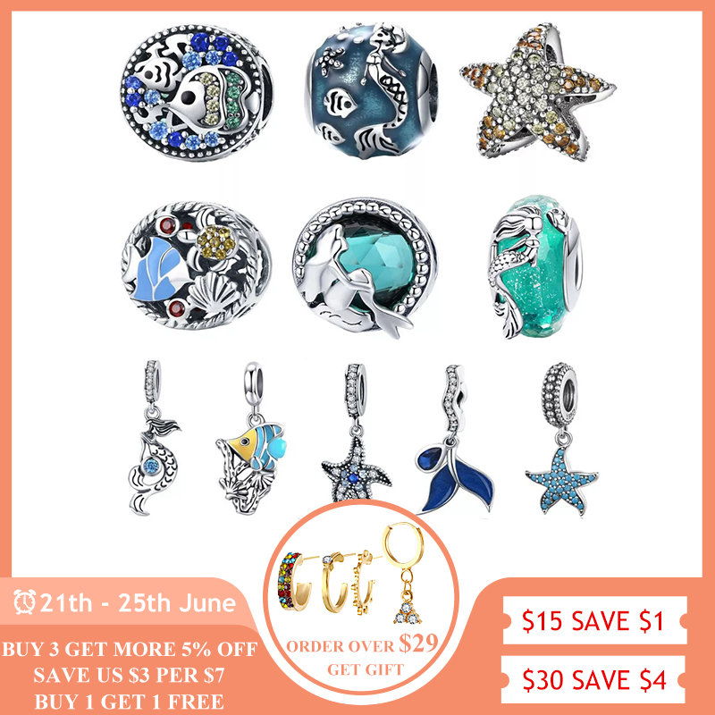 BISAER Dropshipping 925 Sterling Silver Mermaid Tail Starfish Tropical Fish Beads Charms fit Charm Bracelets Silver 925 Jewelry