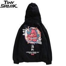 Hip Hop Herren Hoodie Sweatshirt Geist Chinesischen Charakter Print Harajuku Hoodie Streetwear 2020 Herbst Casual Schwarz Pullover Baumwolle