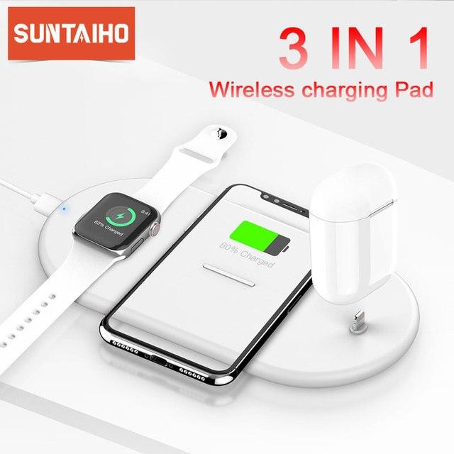 Suntaiho cargador inalámbrico rápido Qi para Iphone XS, XR, X, 8, 11Pro Max, estación de carga inalámbrica para Apple Airpods Watch 5, 4, 3, 2, 1, 10W