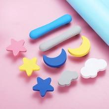 Crianças quarto botões e alças lua amarela desenhos animados móveis alças de plástico estrela nuvem maçaneta da porta crianças gaveta gabinete puxa