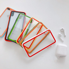 Candy color bumper shockproof case for funda iPhone 7 8 plus 6s 6 Glass backplane transparent back cover for iPhone xr xs max x backplane board for 46c7919 46c7918 x3250m2