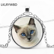 LKLRYWBD / Vintage Pet Cat Pop Round Glass Pendant Necklace Jewelry