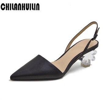 women slipper summer crystal flower high heel women beach slippers transparent heel fashion leather sandals pointed toe slides