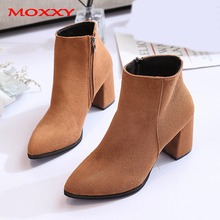 2019 New Chunky High Heel Boots Women Boots Zipper Pointed Toe Suede Sexy Ankle Boots Black Brown Cowgirl Boots Western Shoes стоимость