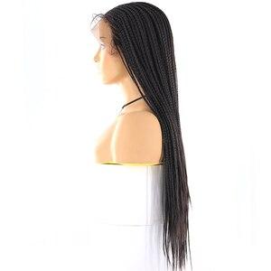 Image 3 - 13x4 Spitze Front Synthetische Geflochtene Perücken X TRESS Lange box cornrow Braid faux loks Perücke African American Frauen Frisur mittleren Teil