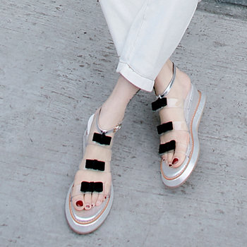 JOUIR TALONS Dropship Fashion Sweet Bow Transparent PVC Wedges Heel Summer Women Sandals Shoes Woman