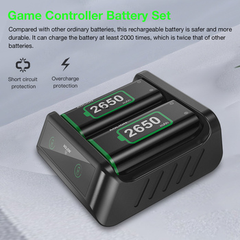 2PCS 2650mAh Rechargeable Batteries For Xbox Series S X Wireless Handle Dual Battery Charger for Xbox One S X/Xbox One Elite 2
