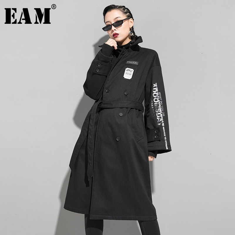 [EAM] Women Letter Printed Long Big Size Trench New Lapel Long Sleeve Loose Fit Windbreaker Fashion Autumn Winter 2019 1K159