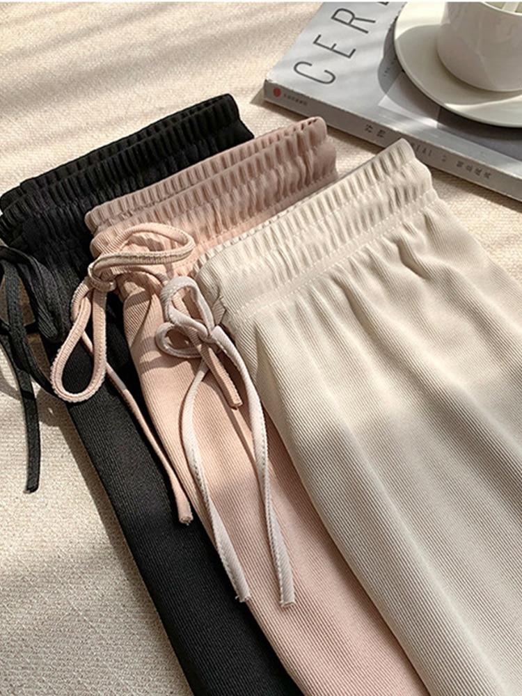 Women Pants Long-Trousers Ice-Silk Comfort Soft High-Waist Casual Summer Ankle-Length