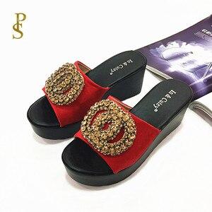 Image 3 - أحذية فلوك للنساء صندل بكعب اسفيني عالي الكعب النعال للسيدات أحذية بو الوحيد
