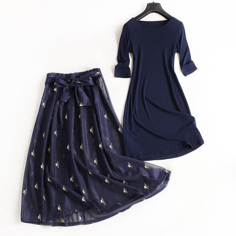 Femmes mode solide 3/4 manches tricot robe broderie maille jupe costume OL deux pièces ensemble nouveau 2019 printemps automne tenues bleu