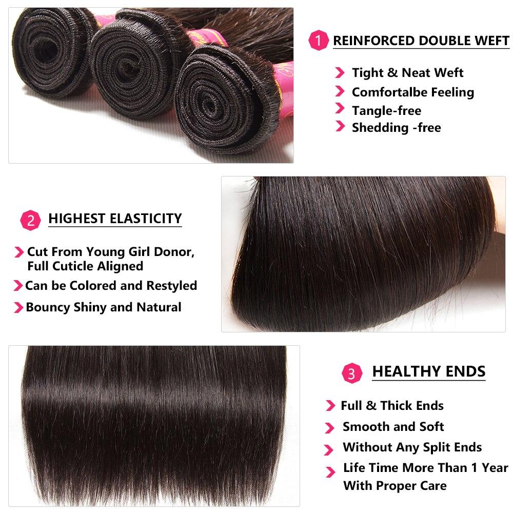 Nadula Hair Lace Closure  Straight Hair Bundles With Closure 3 Bundles With Closure  Bundles With Closure 5