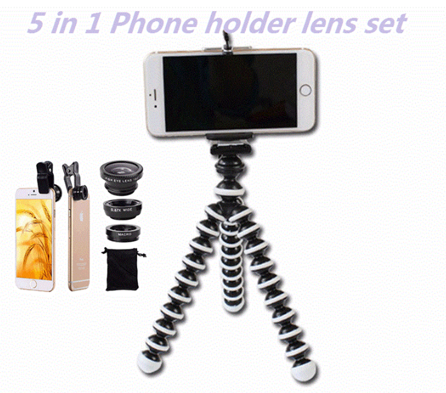 5in1 Mobile Phone Lens Kit Wide Angle Macro Fish Eye Lenses For Xiaomi redmi 3 S 4 note 3 MI5 MI6 Smartphone Clips Mini Tripod|Mobile Phone Lens| |  - title=