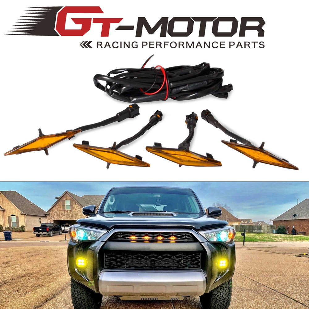 4 PCS Led Amber Grille Lights for 2014 <font><b>2015</b></font> 2016 2017 2018 2019 <font><b>Toyota</b></font> <font><b>4Runner</b></font> TRD Pro Grille SR5 TRD off-road Limited TRO Pro image