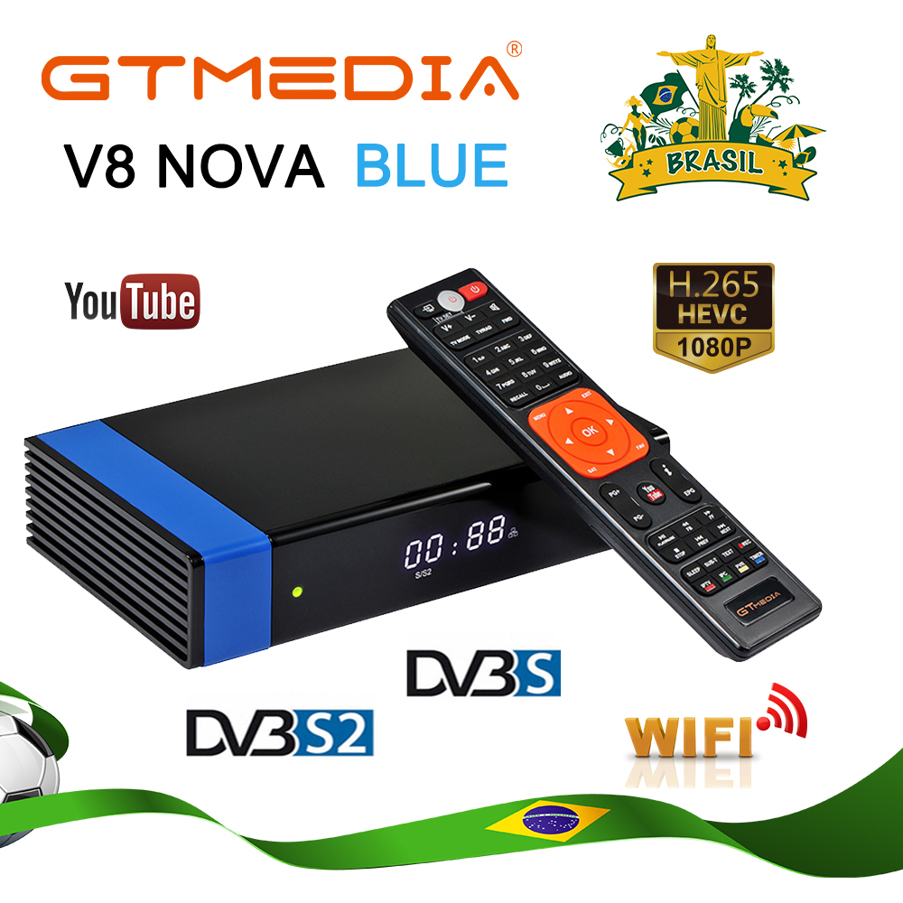 GTMEDIA V8 NOVA Blue With Built-in Wifi HEVC AVS+ H.265 Satellite TV Receiver For North South America Have Stock In Brazil House