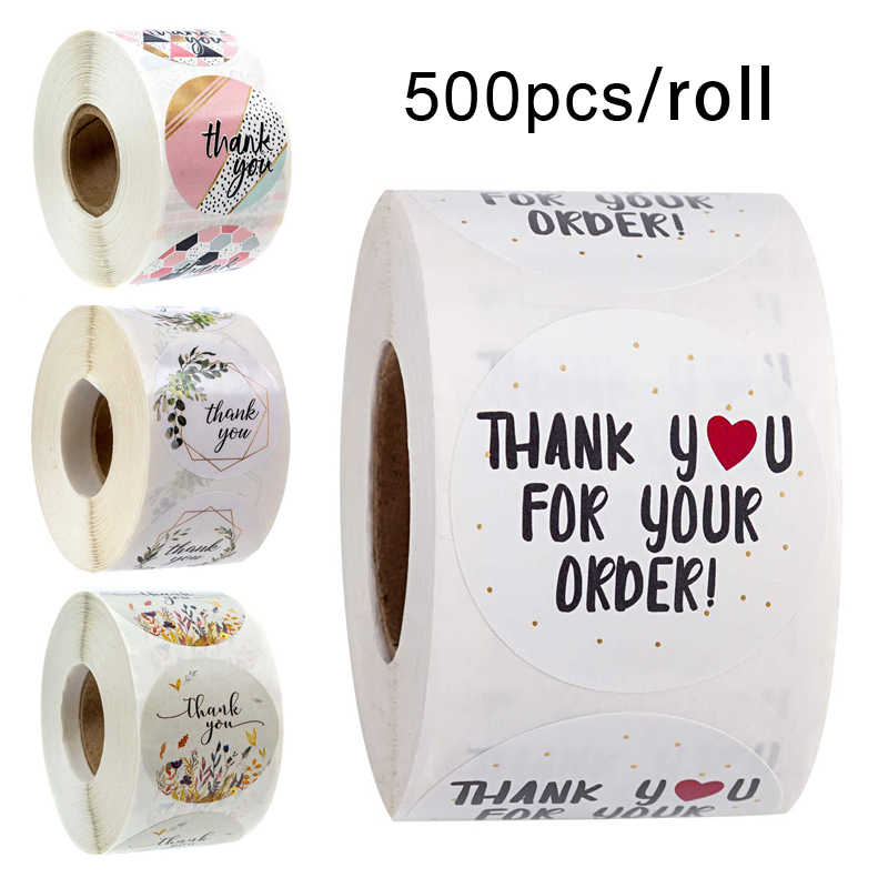 500pcs/roll Thank You Stickers Seal Labels Scrapbook Handmade Sticker Circle Stationery Food Hand Made Deco For Envelope Gift