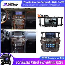 Автомобильный радиоприемник с сенсорным экраном для Nissan Ghost Y62-infiniti QX80 2010-2020, автомобильная стереосистема с двойным экраном, DVD, мультимедиа, ...