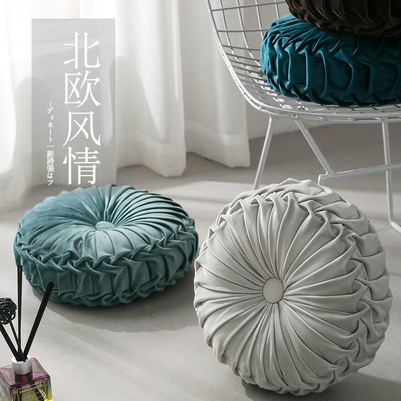 European Style Round Seat Cushion Luxury Velvet Daisy Pleated Sofa Cushion Floor For Home Decor Ins Car Chair Office Bed Thick