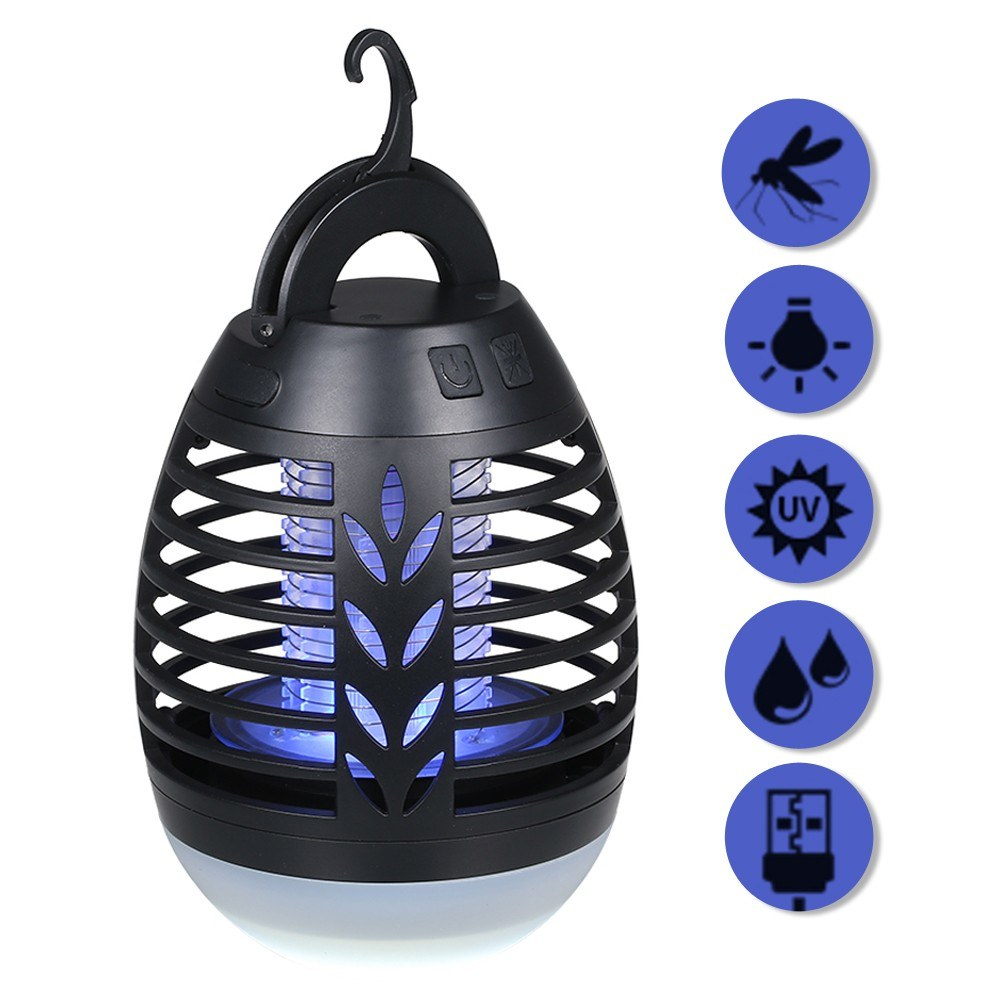 2-In-1 Insect Killer Mosquito Killer Lamp Electric Flytrap LED Lantern IP66 Waterproof Lamp USB Rechargeable For Indoor Outdoor