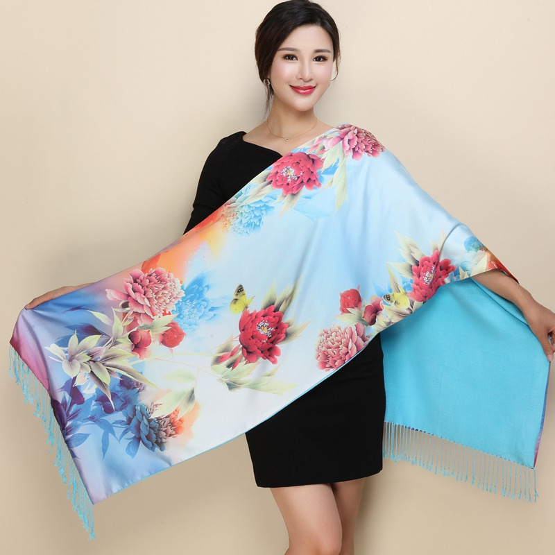 Brand Hot New Ladies National Wind Scarf Shawl, Ladies Fashion Autumn And Winter Long Double-layer Silk Brushed Warm Scarf