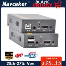 2020 150m HDMI Extender USB RJ45 IP di Rete KVM Over IP Extender Over Cat5 Cat5e Cat6 HDMI KVM Extender con Ampio IR Da UTP/STP