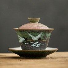 Anti-scald Large Ceramic Retro Tea Cover Bowl with Lid Sancai Gaiwan Single Tea Bowl Hand Painted Shining Crane Cover Bowl
