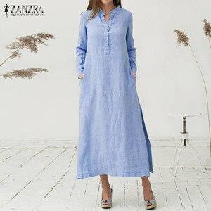 Women Dress 2018 ZANZEA Autumn Casual Loose Cotton Vestidos Long Sleeve Sexy Split Hem Maxi Long Dresses Plus Size S-5XL