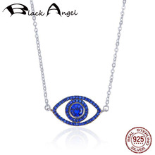 Real 925 Sterling Silver Guardian Lucky Evil Eye Sapphire Chain Pendant Necklaces for Women Blue CZ Fine Jewelry real 925 sterling silver alphabet o zircon pendant necklaces for women cz geometric wedding fine jewelry