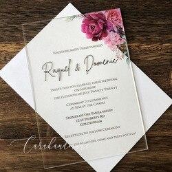 Новое поступление акриловое Свадебное приглашение с фиолетовым цветочным узором