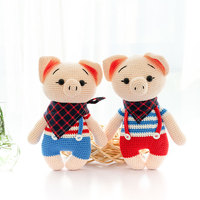 2019 cute 100% hand knitted crochet wool pig doll pig baby children's best birthday gift toy accessories (finished products)