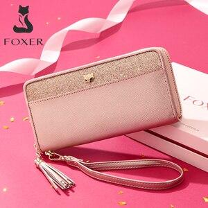 Image 1 - FOXER damski brokat skóra bydlęca długie portfele z nadgarstkiem luksusowa torebka damska Lady Clutch torba na telefon komórkowy fit Iphone 8 Plus