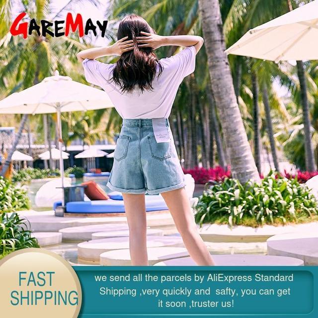 Garemay Women's Denim Shorts Classic Vintage High Waist Blue Wide Leg Female Caual Summer Ladies Shorts Jeans For Women 2