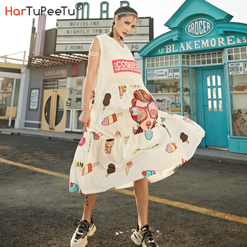 Cartoon Cute Girl Print Dress Midi Dress Women Flutter 2020 Summer Plus Size Loose Cone Head V Neck Big Hem Sleeveless Homewear cartoon goose print ruffle hem cami dress